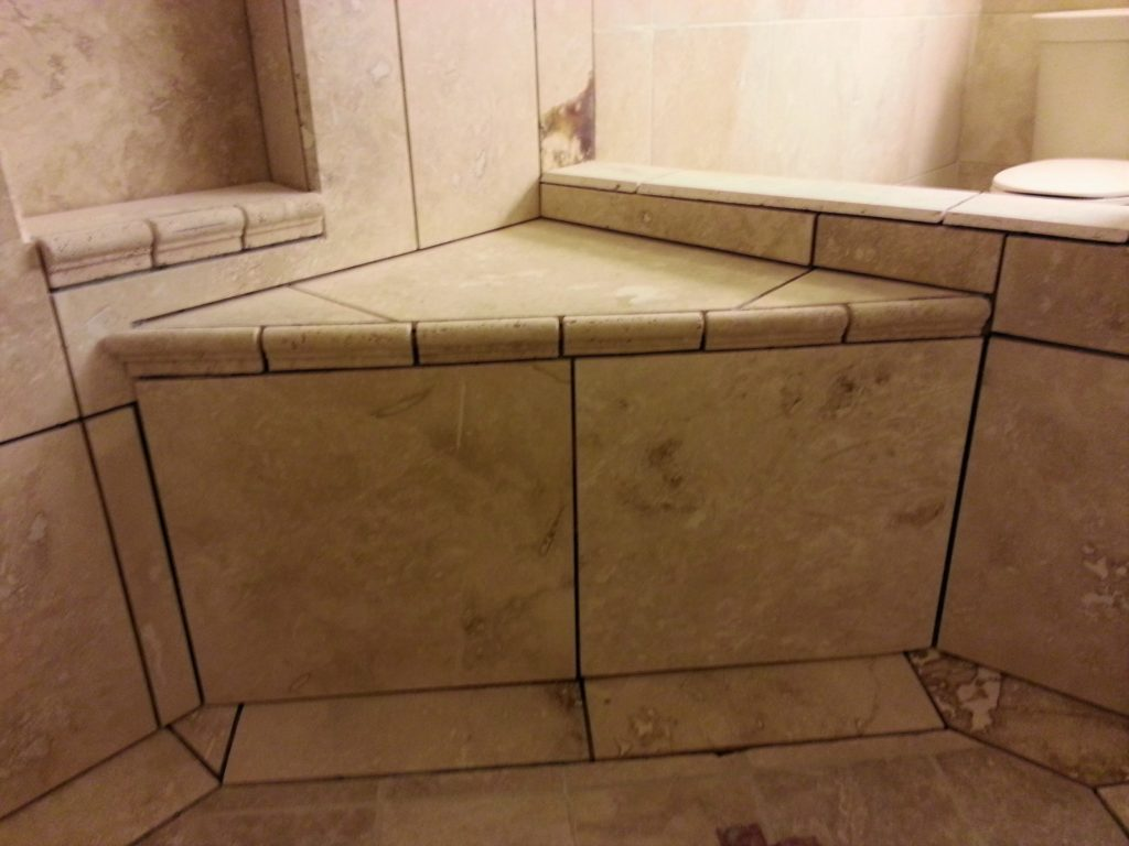 Travertine tile bathroom jmj remodeling experts for Travertine tile bathroom gallery